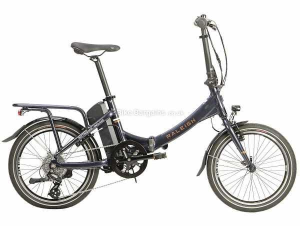 "Raleigh Stow-E-Way Alloy Folding Electric Bike 2021 M, Blue, Alloy Frame, 20"" Wheels, Altus 8 Speed Drivetrain, Caliper Brakes, 8 Speed, Single Chainring"