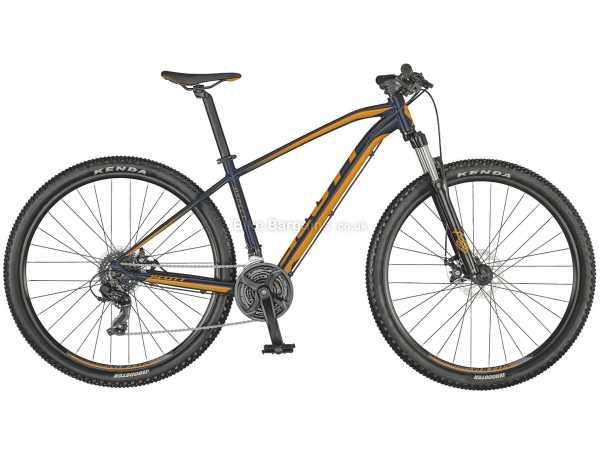 "Scott Aspect 970 Alloy Hardtail Mountain Bike 2021 S, Blue, Orange, Alloy Frame, 29"" Wheels, Tourney & Microshift 21 Speed Drivetrain, Disc Brakes, 7 Speed, Triple Chainring"