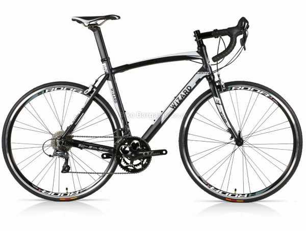 Wizard Spark 2.5 Alloy Road Bike 46cm,48cm,51cm,54cm,56cm,58cm, Black, White, Alloy Frame, Microshift & Claris 16 Speed Groupset, 700c Wheels, Caliper Brakes, Double Chainring