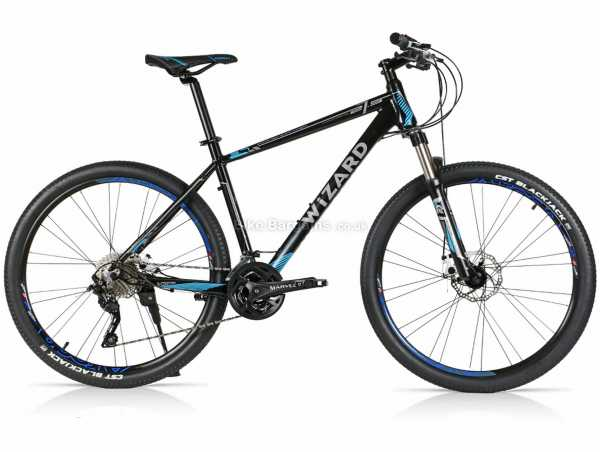 """Wizard X-Country 3.7 Alloy Hardtail Mountain Bike 15"""",17"""",19"""",21"""", Black, Blue, Alloy Hardtail Frame, Deore 30 Speed Groupset, 27.5"""" Wheels, Disc Brakes, Triple Chainring"""