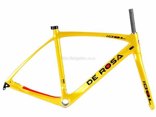 De Rosa Idol Disc Carbon Road Frame 49cm,52cm, Yellow, Black, Disc Brakes