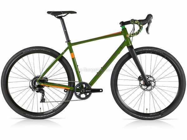 Merlin Malt G1X GRX Alloy Gravel Bike 50cm, Green, Orange, Alloy Frame, 700c Wheels, GRX 11 Speed Groupset, Disc Brakes, Single Chainring