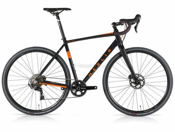 Merlin Malt G2P GRX Alloy Gravel Bike 53cm, Black, Orange, Alloy Frame, 700c Wheels, GRX 11 Speed Groupset, Disc Brakes, Single Chainring