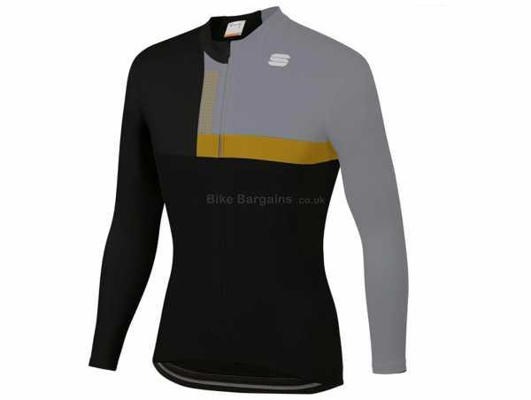 Sportful Bold Thermal Long Sleeve Jersey XL, Black, Gold, Long Sleeve, 3 Rear Pockets, Zip, Thermal